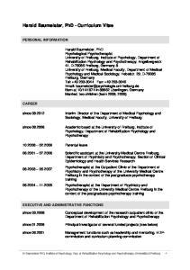 Harald Baumeister, PhD - Curriculum Vitae