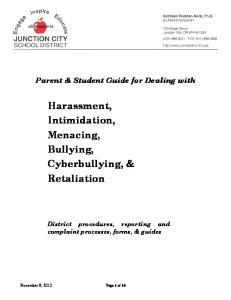 Harassment, Intimidation, Menacing, Bullying, Cyberbullying, & Retaliation