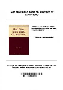 HARD DRIVE BIBLE: BOOK, CD, AND VIDEO BY MARTIN BODO