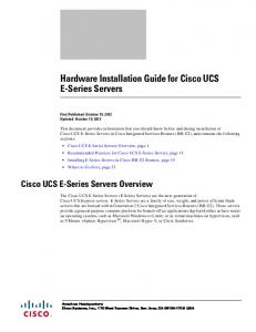 Hardware Installation Guide for Cisco UCS E-Series Servers