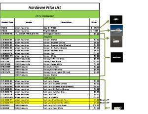 Hardware Price List. DH Hardware