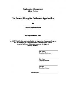 Hardware Sizing for Software Application