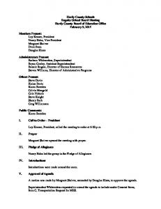 Hardy County Schools Regular School Board Meeting Hardy County Board of Education Office February 9, 2015