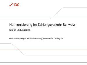 Harmonisierung im Zahlungsverkehr Schweiz