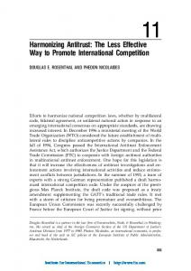 Harmonizing Antitrust: The Less Effective Way to Promote International Competition