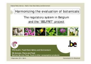 Harmonizing the evaluation of botanicals