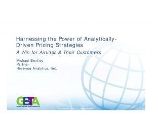Harnessing the Power of Analytically- Driven Pricing Strategies A