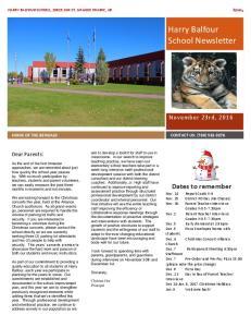 Harry Balfour School Newsletter