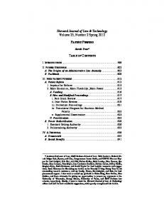 Harvard Journal of Law & Technology Volume 25, Number 2 Spring 2012 PATENT POWERS