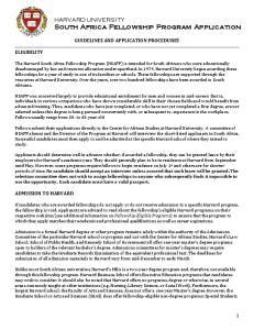 HARVARD UNIVERSITY South Africa Fellowship Program Application
