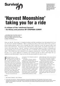 Harvest Moonshine taking you for a ride