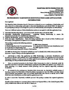 HARVESTER IDENTIFICATION CARD APPLICATION INFORMATION Dear Applicant