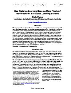 Has Distance Learning Become More Flexible? Reflections of a Distance Learning Student