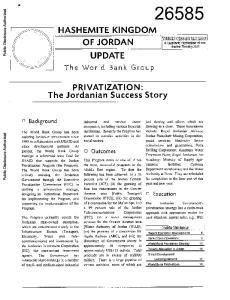 HASHEMITE KINGDOM OF JORDAN UPDATE. PRIVATIZATION: The Jordanian Success Story. The WorOd Brank Group