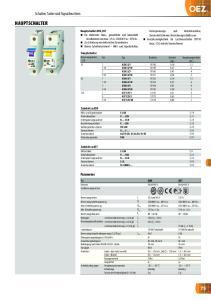 HAUPTSCHALTER. Schalter, Taster und Signalleuchten. Parameter