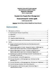 Hauptseminar Supply Chain Management