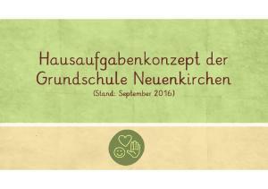 Hausaufgabenkonzept der Grundschule Neuenkirchen. (Stand: September 2016)
