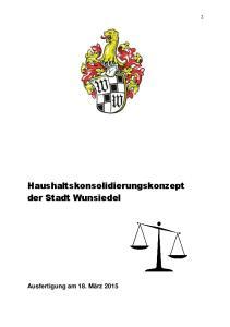 Haushaltskonsolidierungskonzept der Stadt Wunsiedel