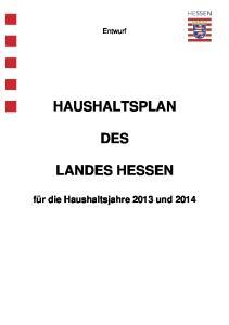 HAUSHALTSPLAN DES LANDES HESSEN