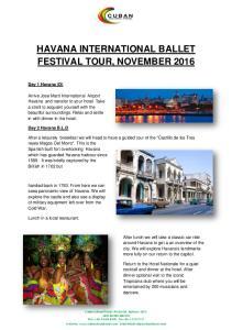 HAVANA INTERNATIONAL BALLET FESTIVAL TOUR, NOVEMBER 2016