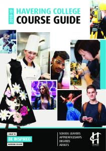 HAVERING COLLEGE COURSE GUIDE SCHOOL LEAVERS APPRENTICESHIPS DEGREES ADULTS I WANT TO BE INSPIRED HAVERING COLLEGE