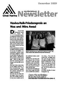 Haviva-Reik-Friedenspreis an Noa und Mira Awad