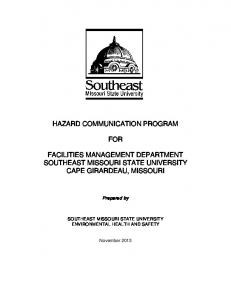 HAZARD COMMUNICATION PROGRAM FOR FACILITIES MANAGEMENT DEPARTMENT SOUTHEAST MISSOURI STATE UNIVERSITY CAPE GIRARDEAU, MISSOURI