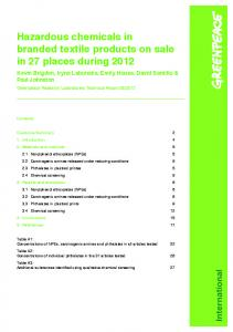 Hazardous chemicals in branded textile products on sale in 27 places during 2012