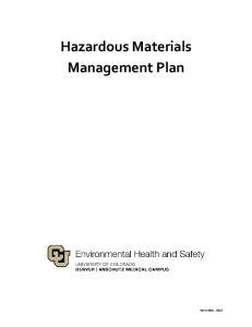 Hazardous Materials Management Plan