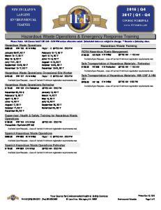 Hazardous Waste Operations & Emergency Response Training