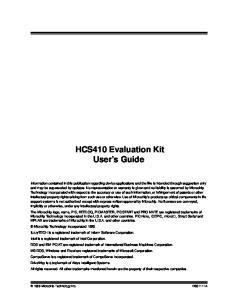 HCS410 Evaluation Kit User s Guide