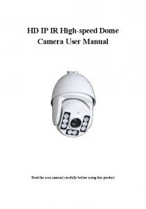 HD IP IR High-speed Dome Camera User Manual