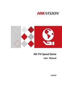 HD-TVI Speed Dome User Manual. HD-TVI Speed Dome. User Manual UD03862B