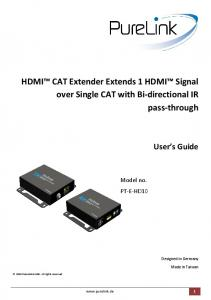 HDMI CAT Extender Extends 1 HDMI Signal over Single CAT with Bi-directional IR pass-through
