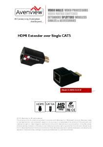 HDMI Extender over Single CAT5 Model #: HDM-C5-R-M