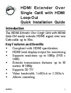 HDMI Extender Over Single Cat6 with HDMI Loop-Out Quick Installation Guide