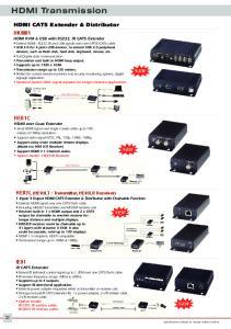 HDMI Transmission. HDMI CAT5 Extender & Distributor. HKM01 HDMI KVM & USB with RS232, IR CAT5 Extender NEW HE01CT NEW