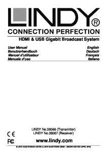 HDMI & USB Gigabit Broadcast System. LINDY No (Transmitter) LINDY No (Receiver)
