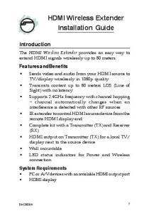 HDMI Wireless Extender Installation Guide