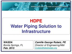 HDPE Water Piping Solution to Infrastructure