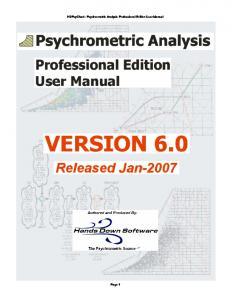 HDPsyChart - Psychrometric Analysis Professional Edition User Manual