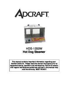 HDS-1200W Hot Dog Steamer