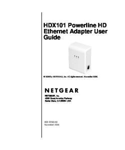 HDX101 Powerline HD Ethernet Adapter User Guide