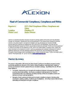 Head of Commercial Compliance, Compliance and Ethics