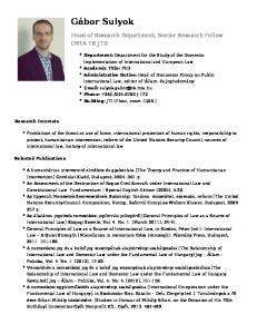 Head of Research Department, Senior Research Fellow (MTA TK JTI)