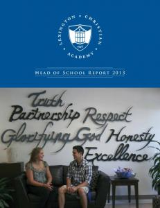 Head of School Report 2013