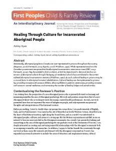 Healing Through Culture for Incarcerated Aboriginal People