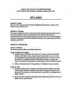 HEALTH ADMINISTRATION A SECTION OF THE MEDICAL LIBRARY ASSOCIATION, INC. BYLAWS