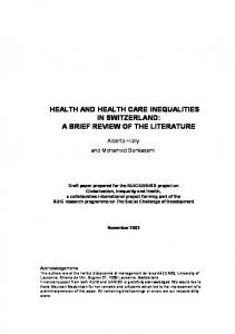 HEALTH AND HEALTH CARE INEQUALITIES IN SWITZERLAND: A BRIEF REVIEW OF THE LITERATURE