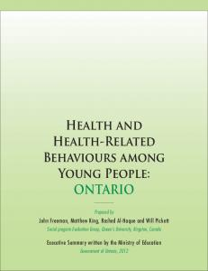 Health and Health-Related Behaviours among Young People: ONTARIO